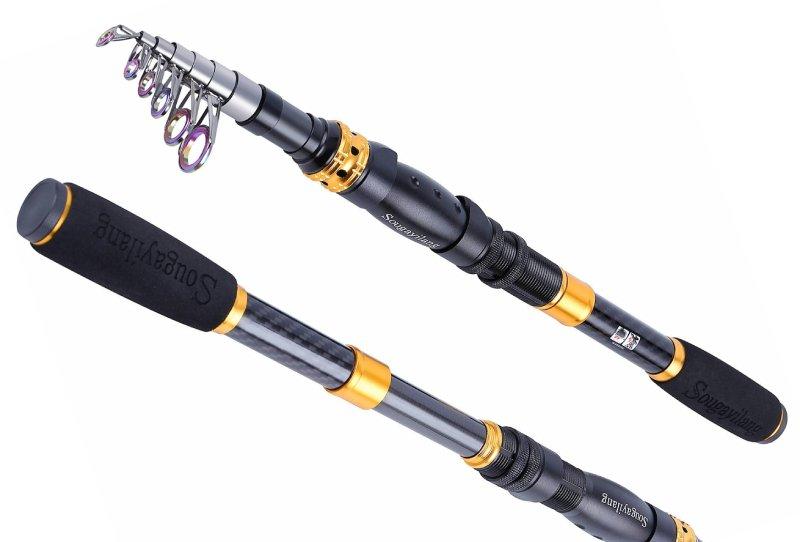 Sougayilang Telescopic Fishing Rod - 24 Ton Carbon Fiber Ultralight Fishing Pole with CNC Reel Seat